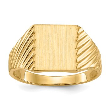 14k 9.5x8.0mm Closed Back Signet Ring