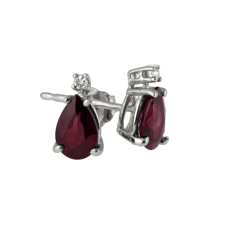 Color Merchants 14k White Gold  Pear Shaped Ruby And Diamond Earrings