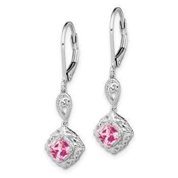 Sterling Silver Rhodium-plated Pink Tourmaline Lever Back Earrings