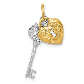 14k Two-tone Polished Heart and Key Pendant