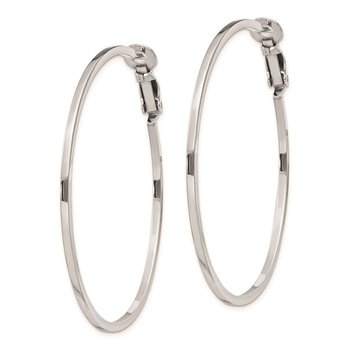Sterling Silver RH-plated 1.5x50mm Omega Back Hoop Earrings