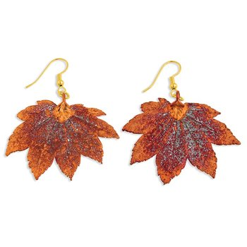 Iridescent Copper Dipped Full Moon Maple Leaf Gold-tone Dangle Earrings