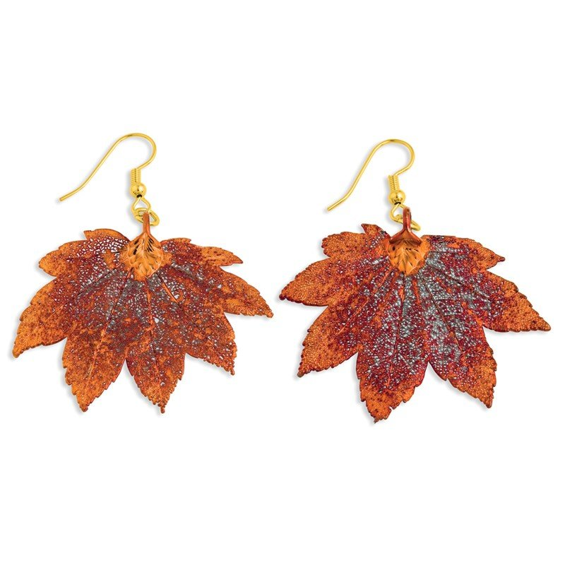 Quality Gold Iridescent Copper Dipped Full Moon Maple Leaf Dangle Earrings