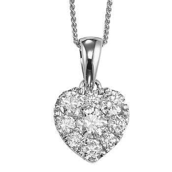 14K Diamond Pendant 1/4 ctw Heart Shape