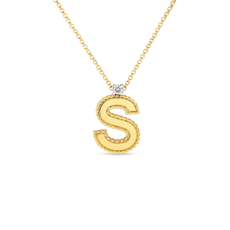 Gold Casters Fine Jewelry Roberto Coin Block Letter Pendant S