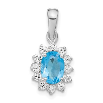 Sterling Silver Rhodium-plated Blue CZ Pendant