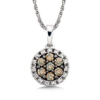 Pave set Cognac Cluster and White Diamond Halo Pendant, 10k White Gold  (1/3 ct. tw.)