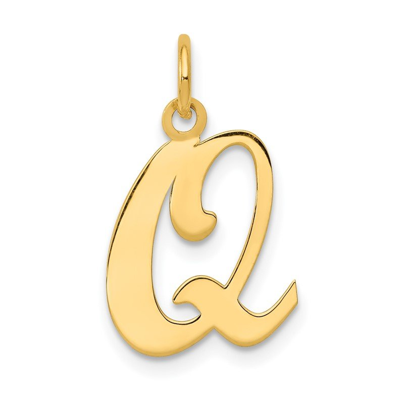 Quality Gold 14KY Script Letter Q Initial Charm