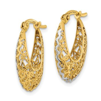 14k Rhodium-plated Polished Filigree Hoop Earrings