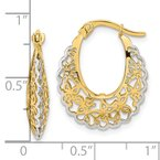 Quality Gold 14k Rhodium-plated Polished Filigree Hoop Earrings