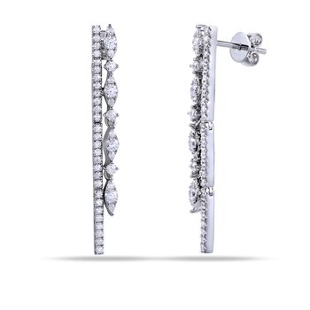 14K Bar Design Drop Earrings with 86 Diamonds 0.70C T.W.