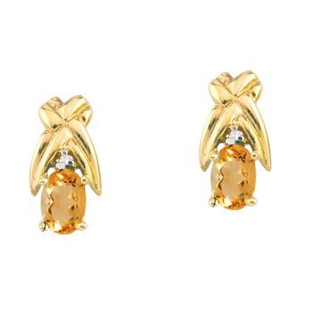 14k Yellow Gold 6x4 mm Citrine and Diamond Oval Shaped Earrings