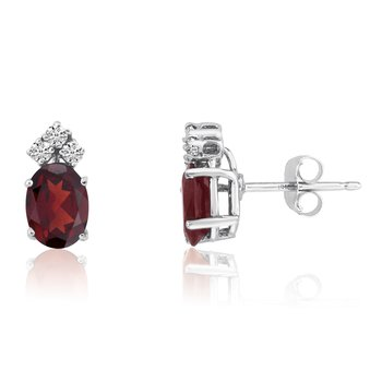 14k White Gold Oval Garnet Earrings with Diamonds