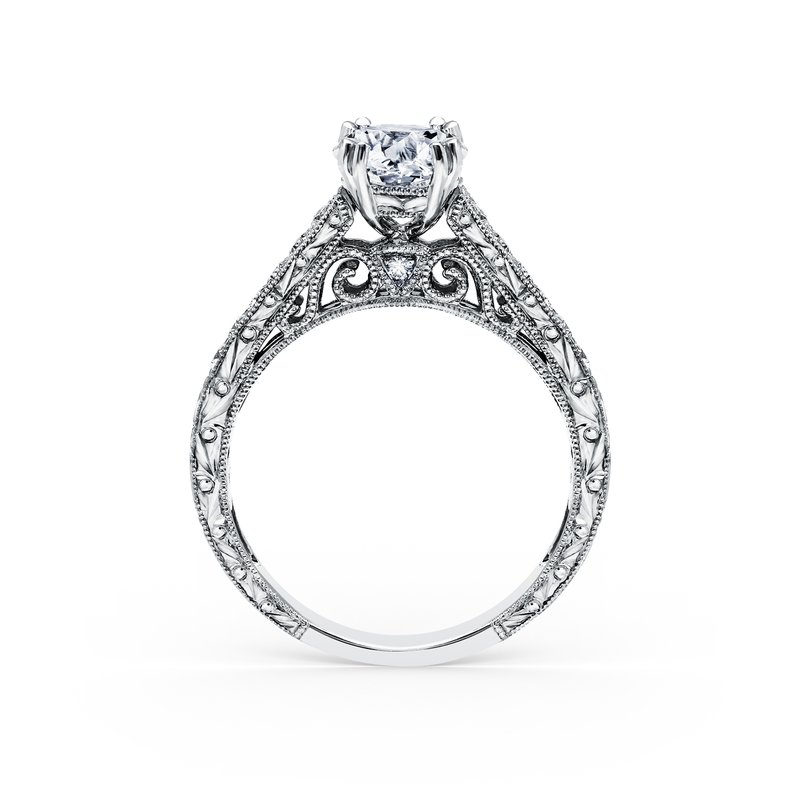 Engraved Diamond Engagement Ring
