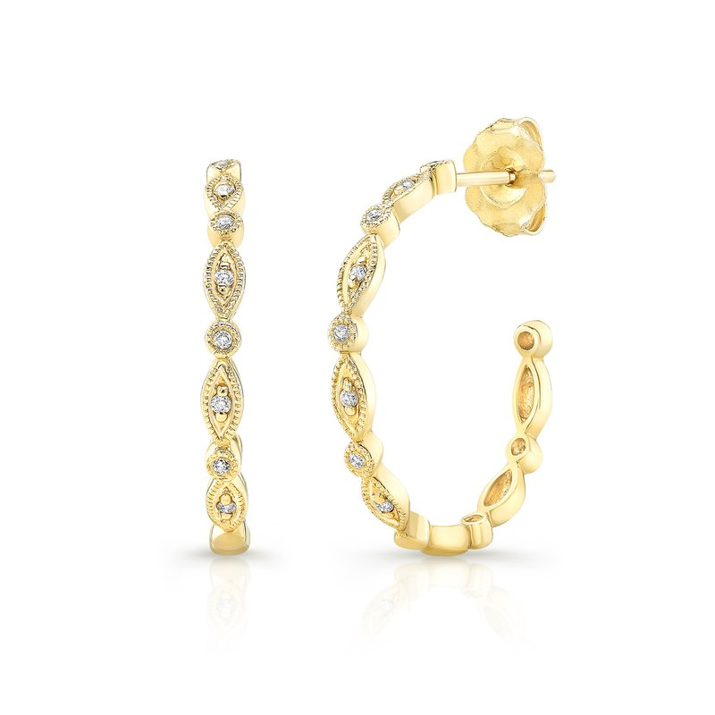 Yellow Gold 3/4 Inch Milgrain Hoops