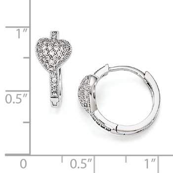 SS Rhodium-Plated CZ Brilliant Embers Heart Hoop Earrings