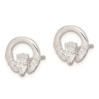 Sterling Silver Rhodium-plated Clear CZ Heart Claddagh Post Earrings