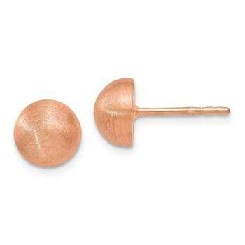 Leslie's Sterling Silver Rose Gold-plated Scratch Finish 8-9m Button Earrin