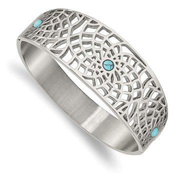 Stainless Steel Polished with Reconstructed Turquoise Hinged Bangle