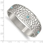 Chisel Stainless Steel Polished with Reconstructed Turquoise Hinged Bangle