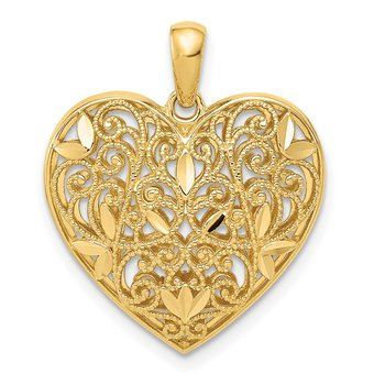 14K Polished Patterned Heart Pendant