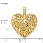 Quality Gold 14K Polished Patterned Heart Pendant