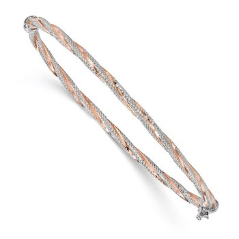 Leslie's 14K White Gold Rose-plated Textured Twisted Bangle