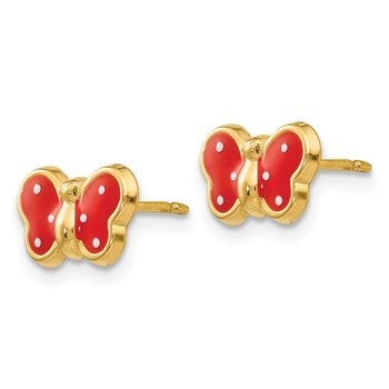 14k Enameled Butterfly Earrings