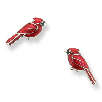 Red Cardinal Bird Stud Earrings.Sterling Silver