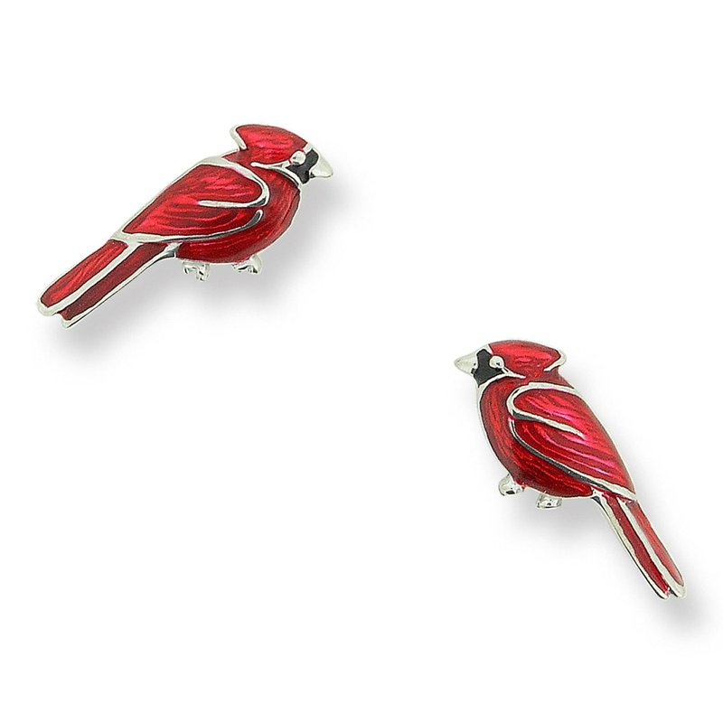 Nicole Barr Designs Red Cardinal Bird Stud Earrings.Sterling Silver