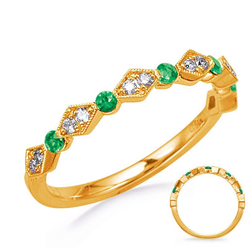 S. Kashi  & Sons Yellow Gold Emerald & Diamond Ring