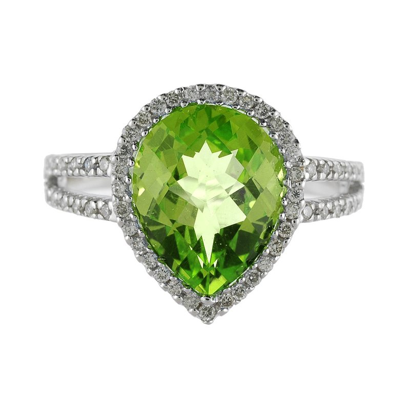 Color Merchants 14k White Gold Pear Cushion Peridot And Diamond Ring