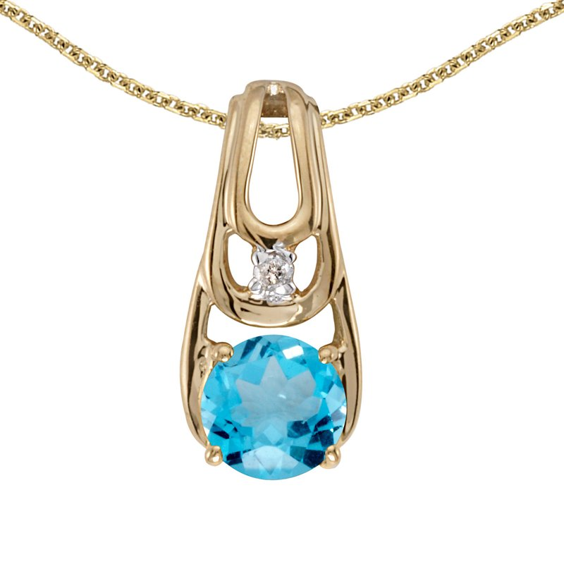Color Merchants 14k Yellow Gold Round Blue Topaz And Diamond Pendant