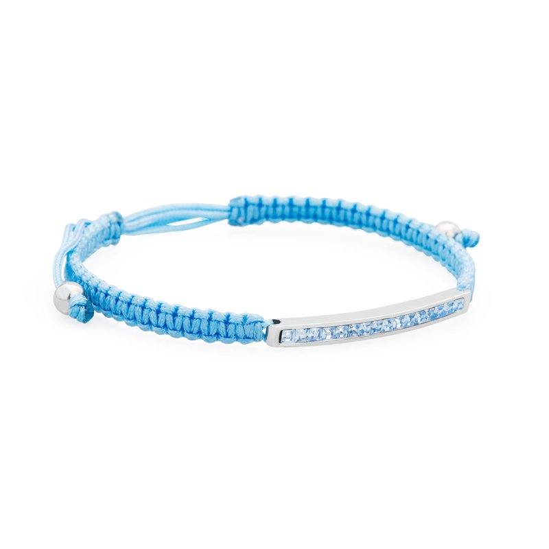 Brosway Bracelet. 316L stainless steel, sky-blue cotton macramé cord and light sapphire Swarovski® Elements crystals