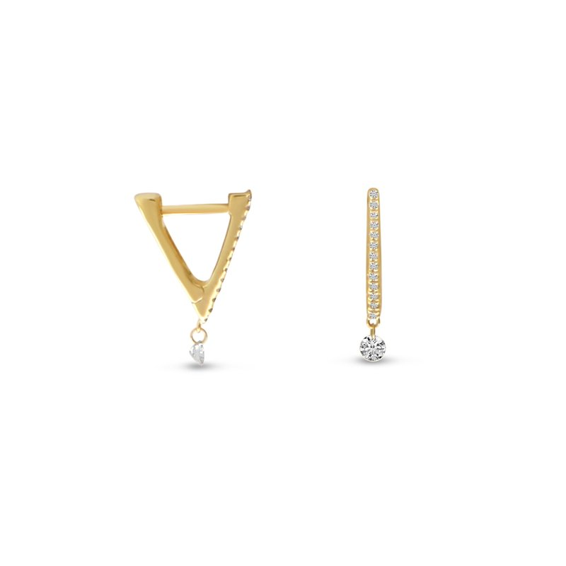 Color Merchants 14K Yellow Gold Tiny Triangle Huggie Diamond Earrings