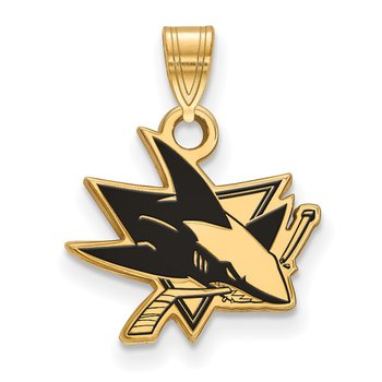Gold-Plated Sterling Silver San Jose Sharks NHL Pendant