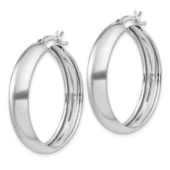 Sterling Silver 6x30mm Polished Hoop Earrings