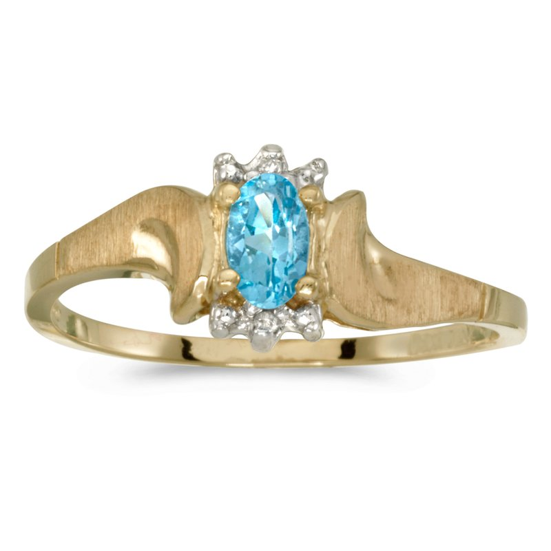 Color Merchants 10k Yellow Gold Oval Blue Topaz And Diamond Satin Finish Ring