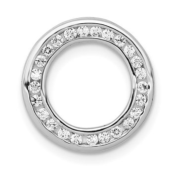14k White Gold 1/4ct. Diamond Channel Set Circle Chain Slide