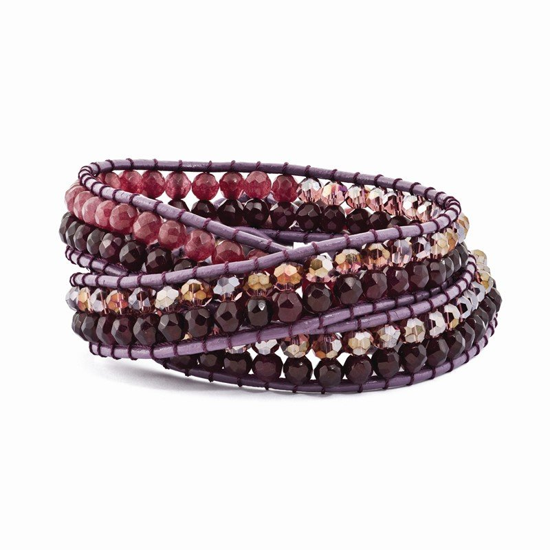 Quality Gold Purple Crystal and Red Quartz and Leather Multi-wrap Bracelet