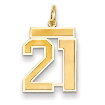 14k Medium Satin Number 21 Charm