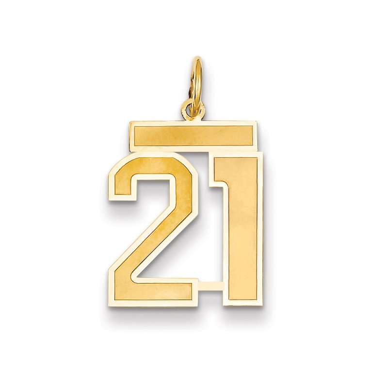 Lester Martin Online Collection 14k Medium Satin Number 21 Charm