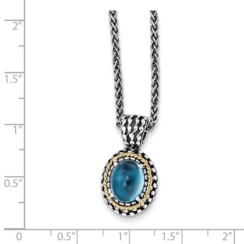 Mia Diamonds 925 Sterling Silver and 14k Yellow Gold Blue Topaz Necklace