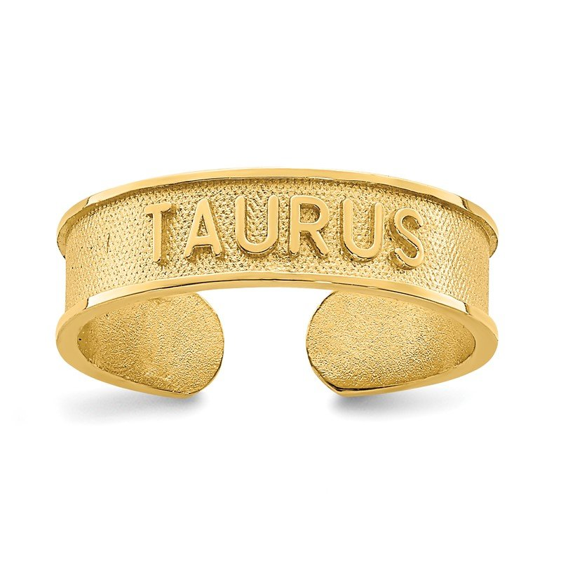 Quality Gold 14K Brushed & Polished Zodiac Taurus Toe Ring