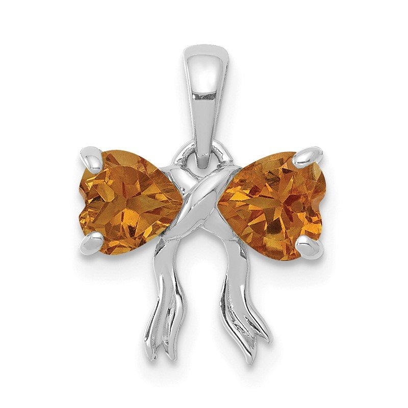 Quality Gold 14k White Gold Polished Citrine Bow Pendant