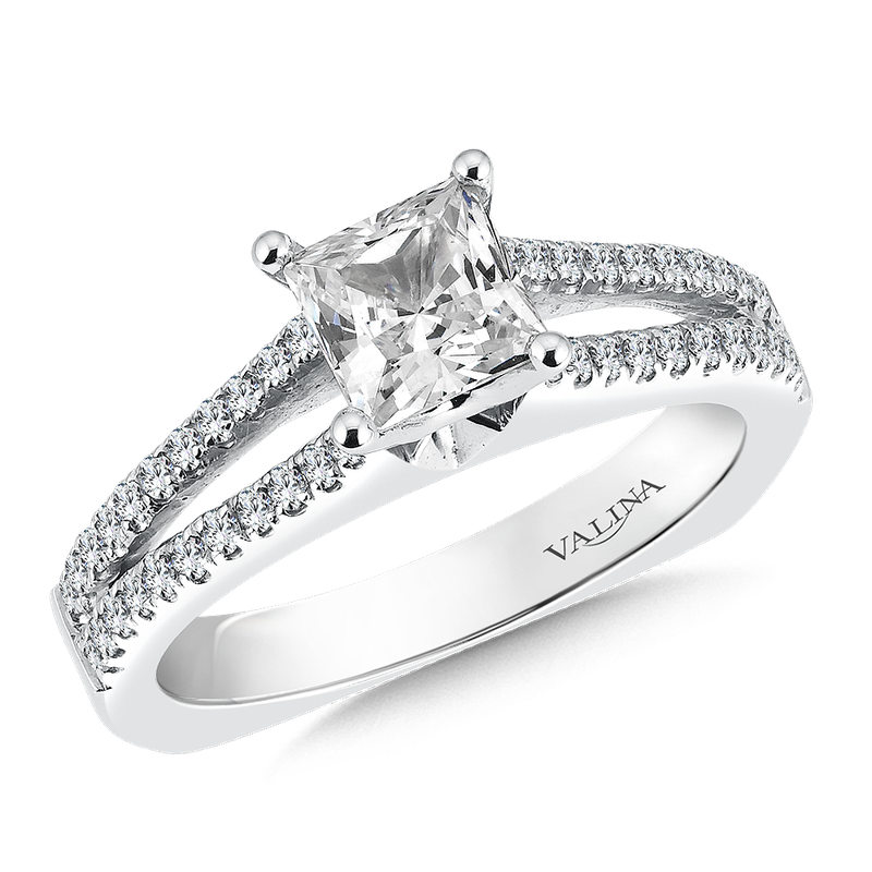 Valina Mounting with side stones .29 ct. tw., 1 ct. Princess cut center.