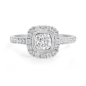 Square Design Halo Engagement Ring