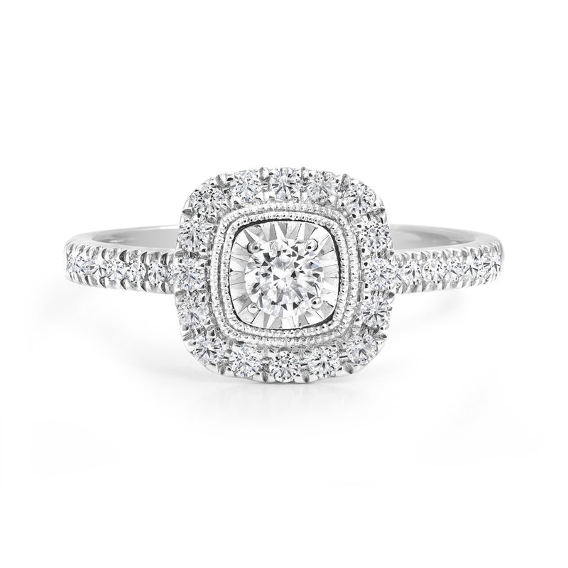 Canadian Rocks Square Design Halo Engagement Ring