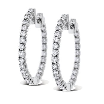 Diamond Inside Outside Hoop Earrings in 14k White Gold with 50 Diamonds weighing 1.35ct tw.