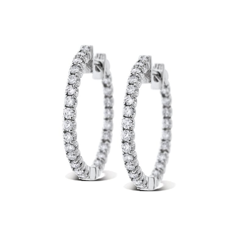 KC Designs Diamond Inside Outside Hoop Earrings in 14k White Gold with 50 Diamonds weighing 1.35ct tw.